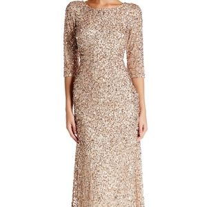 Papell Sequin Mesh Gown GOLD Size 16 #662